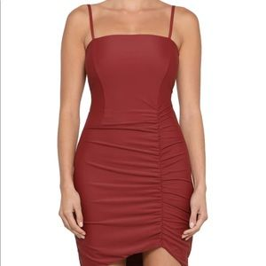 Perfect Condition Tiger Mist Burgundy Ruched Dress